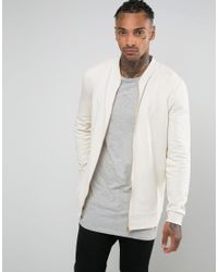 0a446c2d782 Asos Longline Bomber Jacket In Off White in Natural for Men - Lyst