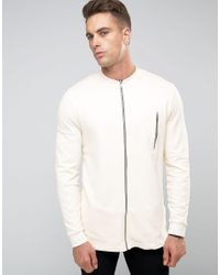 8fed1110bd4 Lyst - Asos Longline Jersey Bomber Jacket With Textured Panels ...
