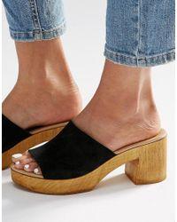 New Look | Black Wood Heel Mule | Lyst