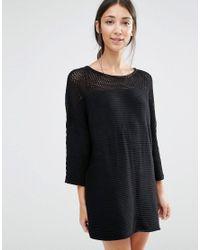 Vila - Black Jumper Dress With Open Weave Yoke - Lyst