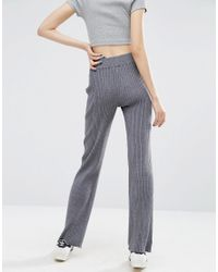 ASOS - Gray Lounge Knitted Wide Leg Trousers - Grey Marl - Lyst