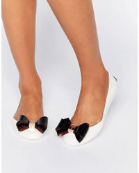 Ted Baker | Natural Julivia Bow Cream Ballet Flat Shoes | Lyst