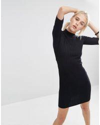 ASOS | Black Chunky Rib Bodycon Dress With Half Sleeve | Lyst