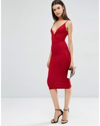 ASOS | Red Strappy Back Wrap Front Midi Bodycon Dress | Lyst