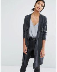 7dac6490afe061 Lyst - Y.A.S Evita Long Wool Cardigan in Gray
