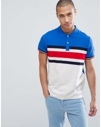 878a09bdf7cd21 Lyst - Tommy Hilfiger Slim Fit Pique Polo With Chest Icon Stripe In ...