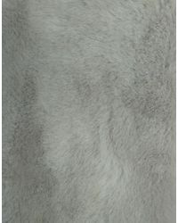 Pieces - Gray Faux Fur Scarf - Lyst