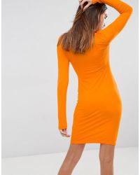 ASOS - Orange Asos Mini Cut Out Shoulder Bodycon Dress - Lyst