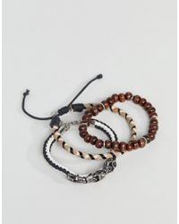 ASOS DESIGN - Black Bracelet Pack With Beads And Skulls for Men - Lyst