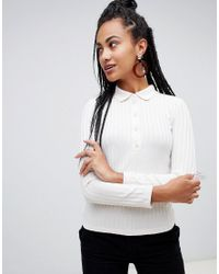 Mango - White Collared Button Front Long Sleeve Jumper - Lyst