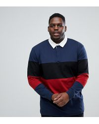 ASOS - Blue Asos Plus Longline Long Sleeve Rugby Polo Shirt With Colour Block In Heavyweight Jersey for Men - Lyst
