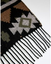 ASOS DESIGN - Green Asos Blanket Scarf In Khaki With Aztec Design for Men - Lyst