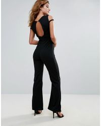 Club L - Black Band Cross Front Jumpsuit - Lyst