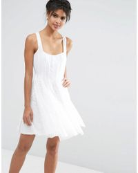 ASOS - White Mesh Fit And Flare Mini Skater With Lace Inserts - Lyst