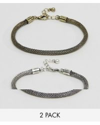 ASOS - Metallic Mesh Chain Bracelet Pack In Burnished Gold And Silver for Men - Lyst