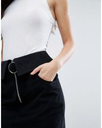 ASOS - Black Mini Skirt With Belt And Pockets - Lyst