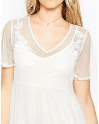 ASOS - Natural Sheer Mesh Midi Dress With Embroidery - Lyst