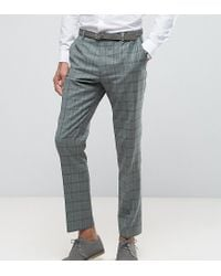 Heart & Dagger - Green Slim Suit Pant In Summer Wedding Check for Men - Lyst