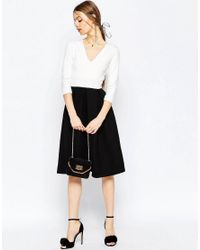 ASOS - Black Structured Occasion Midi Dress - Lyst