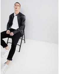 Emporio Armani - Leather Biker Jacket In Black for Men - Lyst
