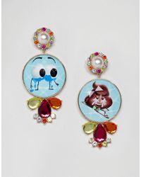 ASOS - Metallic Statement Emoji Crystal Drop Earrings - Lyst