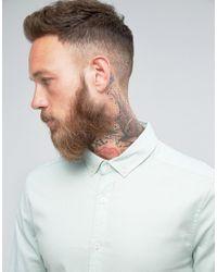 ASOS - Skinny Twill Shirt In Pale Blue for Men - Lyst