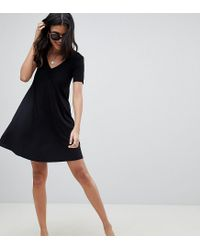 ASOS - Black Asos Design Tall Ruched Front Swing Dress - Lyst