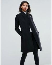 d603665c2d46 ASOS Asos Smart Slim Coat With Funnel Neck in Black - Lyst