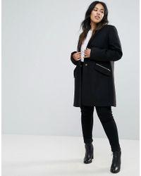 ASOS - Black Slim Boyfriend Coat With Zip Pocket - Lyst