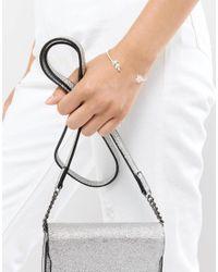 ASOS - Metallic Dainty Leaf Open Cuff Bracelet - Lyst
