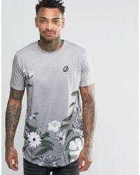 Criminal Damage | Gray T-shirt With Floral Print Curved Hem for Men | Lyst