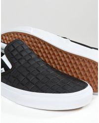 Vans - Slip-on Checkerboard Leather Plimsolls In Black V004mpjrk for Men - Lyst