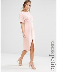 ASOS | Pink Smart Woven Dress With V Back And Split Front | Lyst