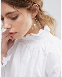 ASOS - Metallic Open Wire Pearl Through Earrings - Lyst