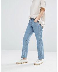 Current/Elliott   Blue Current Elliott Original Straight Leg Jeans With Raw Hem   Lyst