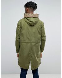 Pretty Green - Winchester Parka In Oversized Fit Green for Men - Lyst