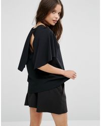 ASOS - Black Top With Cape Sleeve - Lyst