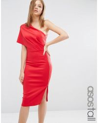 ASOS | Red One Shoulder Scuba Deep Fold Midi Dress With Exposed Zip | Lyst
