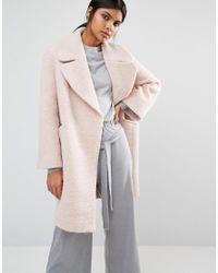Whistles Penny Double Breasted Coat in Pink | Lyst