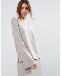 ASOS | Natural Lounge Ribbed Long Sleeve Flared Tunic | Lyst