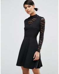 ASOS | Black High Neck Skater Dress With Lace Insert And Lace Sleeves | Lyst