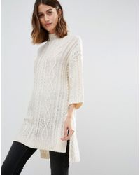 Vero Moda | White Cable Knit Side Split Jumper | Lyst