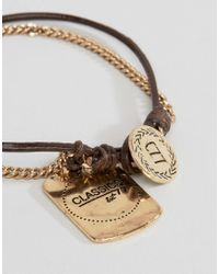 Classics 77 - Leather & Metal Bracelet With Id Tag - Brown - Lyst