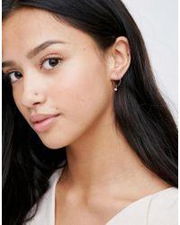 Orelia - Blue Mini Stone Drop Hoop Earrings - Lyst