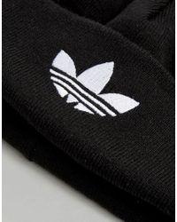 Adidas Originals - Black Originals Knitted Beanie With Trefoil Logo - Lyst