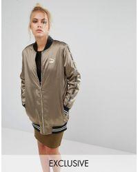PUMA | Green Exclusive To Asos Longline Khaki Bomber Jacket | Lyst