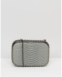 Claudia Canova - Gray Faux Snakeskin Clutch Bag - Lyst