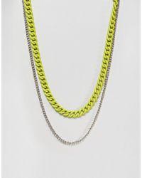 ASOS - Metallic Asos Double Layer Neckchain With Fluro Yellow Finish for Men - Lyst