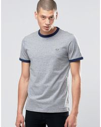 Fred Perry | Gray Ringer T-shirt In Steel Marl / Carbon Blue for Men | Lyst
