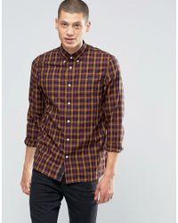Fred Perry | Multicolor Shirt In Gingham Herringbone In Navy In Slim Fit for Men | Lyst